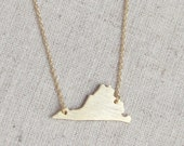 Virginia state necklace brushed silver or gold