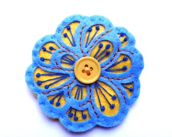 MEXICAN ROSE felt brooch pin with freeform embroidery