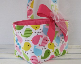 Fabric Easter Basket Candy Bucket Bin Storage Container - Spring Birds Fabric - PERSONALIZED/ Name Tag Available