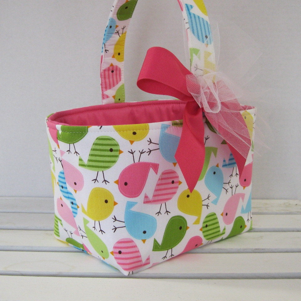Fabric Easter Basket Candy Bucket Bin Storage Container