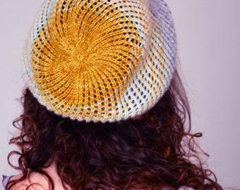 SALE - Slouchy knit mesh lace hat
