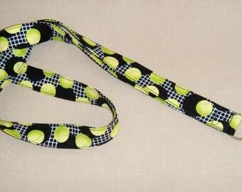 Tennis on green - handmade fabric lanyard