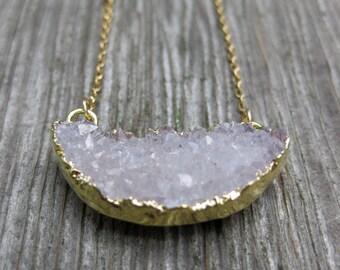 half MOON druzy white quartz drusy goldfilled necklace