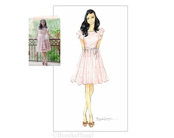 Custom Fashion Illustration - Graduation - Prom - Gift