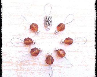 Snag Free Stitch Markers Small Set of 8 - Root Beer Faceted Glass -- K43 -- Up to size US 8 (5.0mm) Knitting Needles