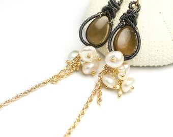 Long Whiskey Quartz Earrings Wire Wrapped Dangle Earrings