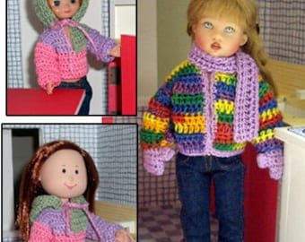 """Madeline crochet pattern - 8"""" doll clothes PDF - outerwear, hoodie, cardigan"""