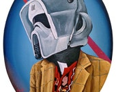 Digital Print 10.5x14 of Original Painting - Biker Scout Helmet with Duckie Dale's Outfit from John Hughes Movie Pretty in pink