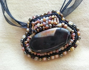 Orange Crescent in Night Sky Agate and Bead Embroidered Necklace