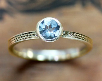 Aquamarine engagement ring in recycled 14k yellow gold - bezel engagement ring - wheat braid band, March birthstone - custom engagement ring