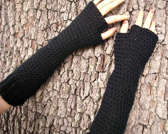 Crocheted Fingerless Gloves Mittens - Long Fingerless Gloves in Black - Gauntlet Gloves Long Black Gloves - Womens Accessories