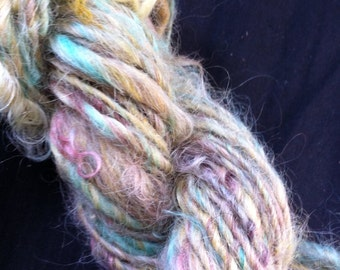 Ooak Skein of Handspun and Hand Dyed Single Ply Chunky Weight Yarn 55 Yards Wool Mohair