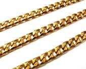 Huge Vintage Brass Textured Cuban Curb Chain (2 feet) (C648)