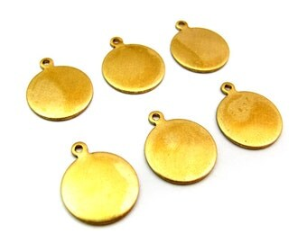 Raw Brass Engraving Circle Charms - with hole - 12mm X 15mm  (10X) (M638)