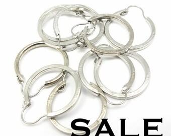 Textured Silver Plated Medium Hoop Earring Findings (10 Pairs) (F548) SALE - 25% off