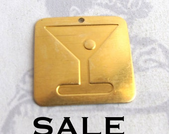 Brass Martini and Olive Pendant (4X) (V363) SALE - 25% off
