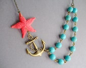 Starfish Necklace,Starfish Jewelry,Turquoise Necklace,Coral Necklace,Turquoise Jewelry,Coral Jewelry,Gift,Statement Necklace,Multi Strand,