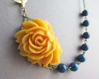 Statement  Necklace,Mustard Flower Necklace,Floral Necklace,Mustard Necklace,Teal Necklace,Bridesmaid Necklace,Bohemian Necklace,Gift