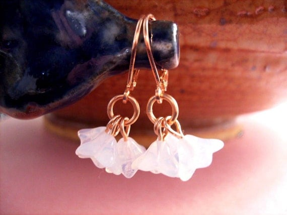 Flower Earrings, Milk White Ruffle Blossoms, Rose Gold Tone Copper Dangle Earrings, FREE Shipping U.S.