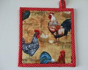 Fabric Potholder - Chickens and Barnyard