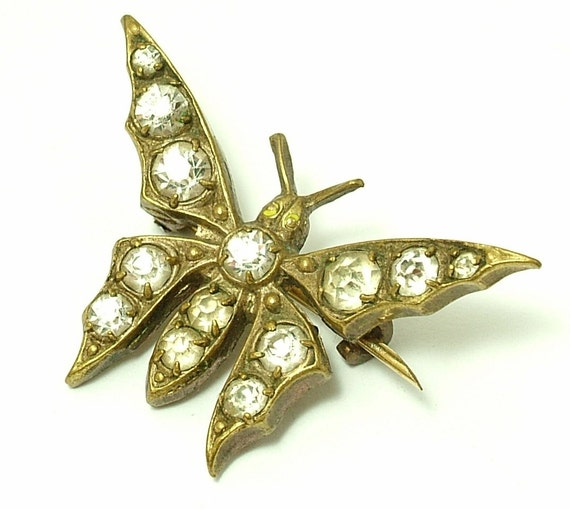 Antique/ vintage / antique Edwardian 1900s brass & paste/ rhinestone insect/ butterfly costume brooch/ pin - jewelry