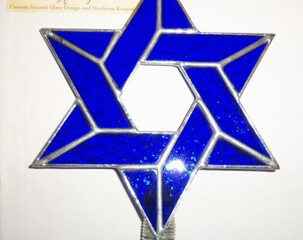 Handmade Interfaith Christmas Tree Topper, Stained Glass Star of David Decoration for Blended Families, Jewish Star Tree Topper, Custom Work