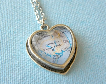 Cambodia Map Necklace - Cambodia featuring Phnom Penh - Petite Heart Shaped