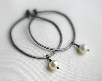 Oxidized Sterling Silver Pearl Hoops, Ivory Freshwater Pearls, Hammered Hoop Earrings, Removable Drops, Rustic Hoops, Convertible Earrings