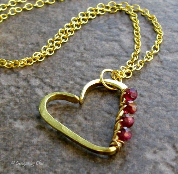 Garnet Open Heart Necklace, Hand Forged Brass Heart Pendant, Wire Wrapped Gemstones... January Birthstone, Valentine's Day