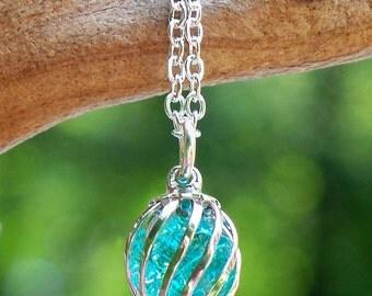 Recycled Vintage Aqua Mason Jar Cage Necklace