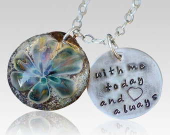 Cremation Pendant Pet Memorial Handstamped Charm Glass Flower Water Lily Necklace Borosilicate Boro Lampwork Hand Blown Glass Jewelry
