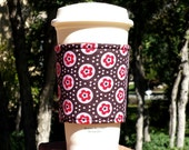 Fabric coffee cozy / cup holder / coffee sleeve  -- Pink Flowers and Dots on Brown