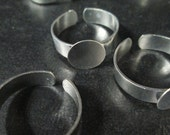 10 10mm open back ring base, silver plated blank adjustable findings, lead and nickel free