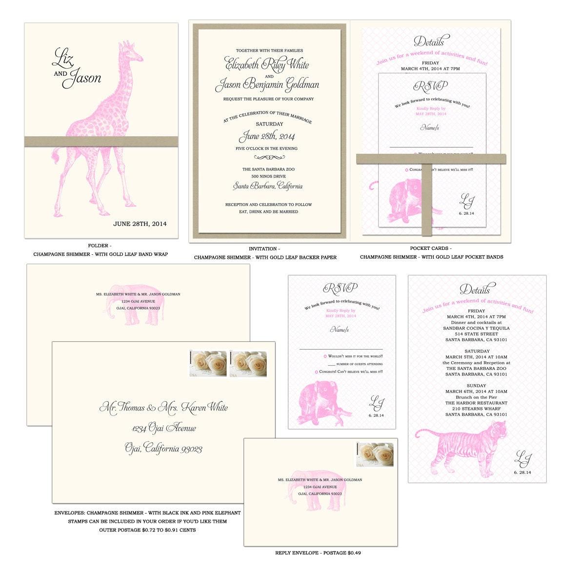 Animals Elegant Invitation Folder Style Wedding