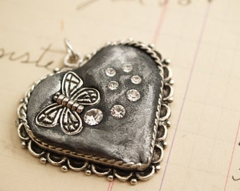 Silver Grey Heart Butterfly Necklace Pendant One of a Kind Handmade
