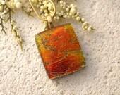 Golden Orange Copper, Gold Necklace, Dichroic Jewelry, Fused Glass Jewelry, Dichroic Glass Jewelry, Glass Necklace, Glass Pendant,020815p101