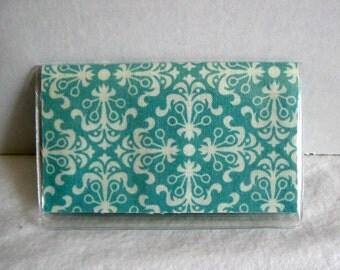 Business Card Holder Teal Mini Wallet