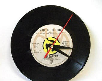 Record Clock Nazareth Hair of the Dog, Desk or Wall Clock, Music Lover Gift, Upcycled