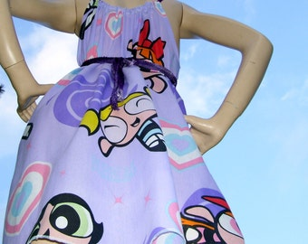 Power Puff Sundress Upcycled Purple Hippie Blossom Bubbles Cartoon Geek SunDress Adult M L XL Plus Sundress