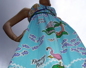 Hawaiian Sundress Animal Geek Flamingo Hippo Boynton Hippie Cartoon Fabric Maternity Blue Fish Dress Adult S M L XL