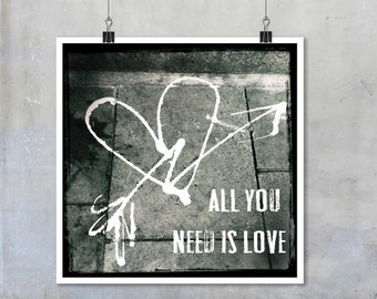 Spray art print heart and arrow graffiti photo print black and white monochrome graffiti decor square print poster valentine gift city art