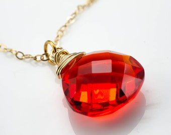 Red Quartz Faceted Briolette Gold Necklace
