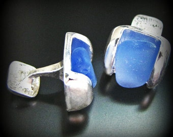 Cufflinks - Sea Glass Jewelry, For Him, Soft Ocean Blue Father's Day Seaglass, Sterling Silver - Wedding, Groom, Jewellery