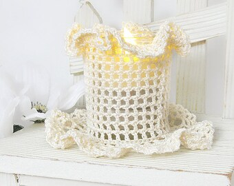 Cream Lace Votive Candle Holder, Vintage Inspired Crochet Romantic Room Decor Accessory