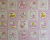 SALE Makower UK Baby, Baby Girl Labels Pink Fabric - By the Panel
