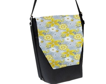 Convertible Backpack - Sling Purse - Shoulder Bag - iPad Purse - REMOVABLE FLAP - Oopsie Daisy Fabric