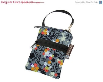 ON SALE Cell Phone Bag Small Crossbody Bag iPhone Shoulder Purse Cross Body Purse - Short Zip Cell Phone Bag - Fast Shipping Urban Flowers F