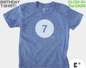 Seventh 7th Birthday TShirt Kids, Glow-in-the-Dark, Kid BIRTHDAY Shirt, 7th Birthday, Boys Birthday, Laser Tag, Kids Birthday Party Favor