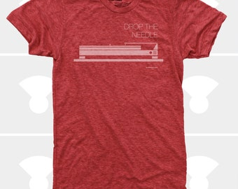 Men's TShirt Drop the Needle, Music, Turntables, Record Player, Dieter Rams, Mid Century Modern, Men Shirt, Red (4 Colors) TShirt for Men