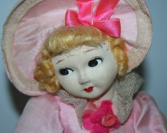 Lenci Type OLD Cloth Doll/Adorable in PINK/Silk/Hoop Dress/Sweet Stockinette